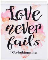 "Belle Maison ""Love Never Fails"" Mini Box Sign Art"