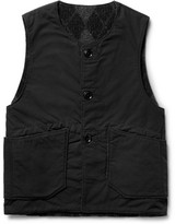 Engineered Garments Reversible Cotton-blend Ripstop And Wool-blend Vest - Black