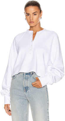 Marissa Webb So Uptight Plunge Henley in White | FWRD