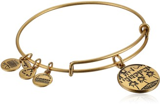 "Alex and Ani Places We Love"" Rafaelian Gold-Tone Miami II Expandable Wire Bangle Bracelet 7.25"""