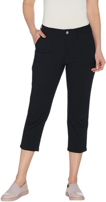 Denim & Co. Petite Stretch Double Weave Crop Pants with Pockets
