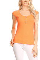 Coral Button-Front Cap-Sleeve Top