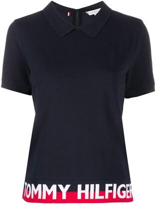 Tommy Hilfiger Logo Striped-Hem polo shirt