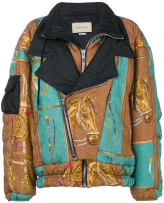 Gucci oversized equestrian-print jacket
