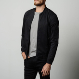 DSTLD Mens Leather Bomber Jacket in Black