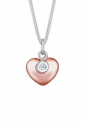 Diamore Women's 925 Silver Rose Gold Plated Heart Diamond Bi-Color Solitaire Pendant Necklace - 45cm length