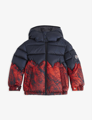 Moncler Vento mountain-print nylon puffer jacket 4-14 years