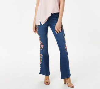 Laurie Felt Petite Silky Denim Embroidered Boot-Cut Jeans