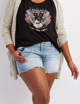 Charlotte Russe Plus Size Refuge Mid-Rise Shortie Denim Shorts