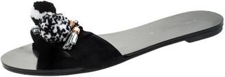 Sophia Webster Black Suede Jada Pom Pom Slide Flats Size 37