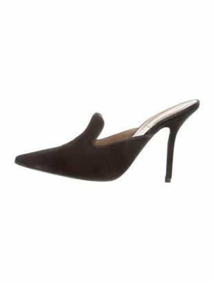 Alberta Ferretti Pointed-Toe Velvet Mules