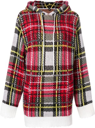 R 13 cashmere checked hooded sweater