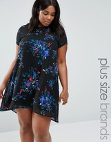 AX Paris Plus Swing Dress With Sheer Insert In Floral print