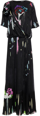 Giorgio Armani Wrap-effect Floral-print Mulberry Silk-blend Chiffon And Jacquard Maxi Dress