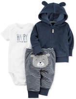 Carter's 3-Pc. Hoodie, Happy Bodysuit & Bear Pants Set, Baby Boys