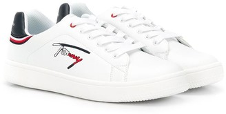 Tommy Hilfiger Junior TEEN signature embroidered lace-up sneakers