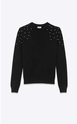 Saint Laurent Crewneck Sweater In Cashmere With Crystal Embroidery