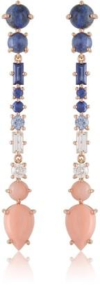 Alexia Gryllaki Coral, Sapphire, Diamond & Sodalite 18 Karat Rose Gold Earrings