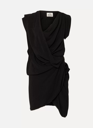 Vivienne Westwood Draped Crepe De Chine Dress - Black