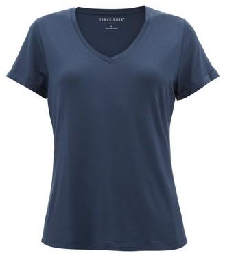 Derek Rose Lara V-neck Stretch-micromodal Pyjama T-shirt - Navy