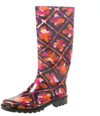 Burberry Multicolor Floral Geometric Rubber Carleton Rain Boots Size 37