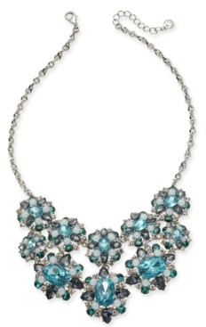 "Charter Club Silver-Tone Crystal, Stone & Imitation Pearl Cluster Statement Necklace, 17"" + 2"" extender, Created for Macy's"