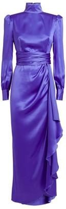 Alessandra Rich Silk High-Neck Gown
