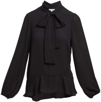 Minna Women's Blouses black - Black Tie-Accent Ruffle V-Neck Top - Women & Plus