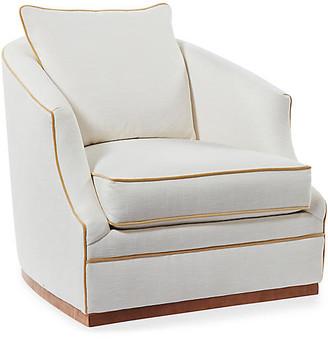 One Kings Lane Annie Swivel Chair - Ivory