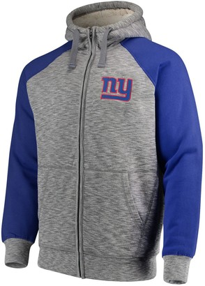 G Iii Men's G-III Sports by Carl Banks Heathered Gray/Royal New York Giants Turning Point Sherpa Lined Full-Zip Jacket