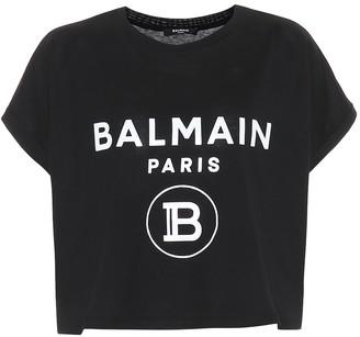 Balmain Cropped logo cotton T-shirt