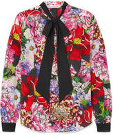 Mary Katrantzou Pussy-bow Floral-print Silk Crepe De Chine Blouse - Pink