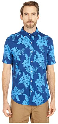Nautica Button Print Front Jersey Polo (Blue) Men's Clothing