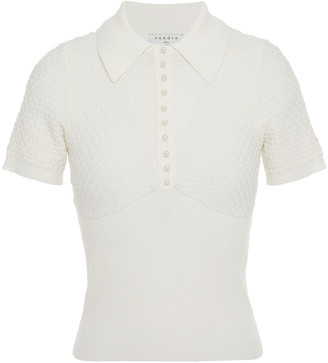 Sandro Esmia Crochet And Ribbed-knit Polo Shirt