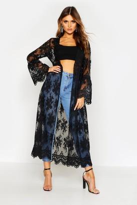 boohoo Flare Sleeve Lace Maxi Kimono
