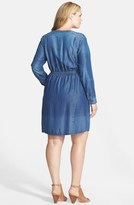 Sejour Tencel® Chambray Roll Sleeve Shirtdress (Plus Size)