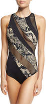 Carmen Marc Valvo Ornamental Floral Mesh High-Neck One-Piece Swimsuit
