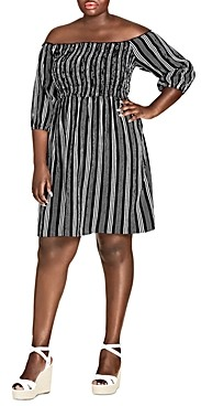 City Chic Plus Stripe Play Off-the-Shoulder Dress