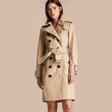 Burberry Metallic Cotton Gabardine Trench Coat with Oversize Buckle Detail