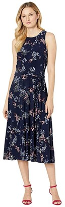 Lauren Ralph Lauren Floral Fit-and-Flare Jersey Dress (Lighthouse Navy/Blue/Multi) Women's Clothing