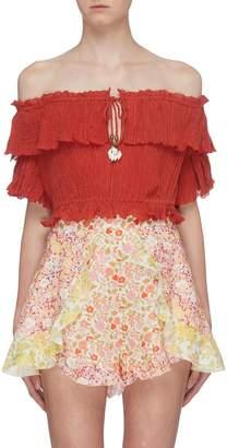 Zimmermann 'Veneto' drawstring crinkled ramie-cotton cropped off-shoulder top