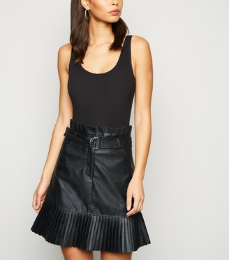 New Look Cameo Rose Coated Leather-Look Pleated Skirt
