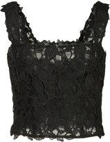 Monique Lhuillier lace cropped top - women - Nylon/Polyester - 2