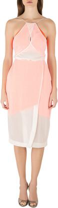 Dion Lee Neon Orange and Cream Sheer Silk Layered Vertigo Halter Dress S