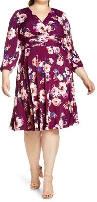 Eliza J Floral Ruched Waist Long Sleeve Midi Dress