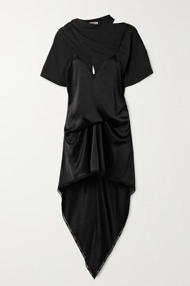 Alexander Wang Asymmetric Lace-trimmed Satin And Cotton-jersey Dress - Black