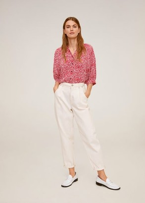 MANGO Floral-print flowy blouse red - 4 - Women