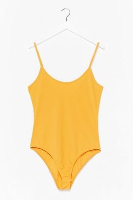 Nasty Gal Womens On Rib-peat Plus High-Leg Bodysuit - Yellow - 16