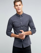 Asos Skinny Shirt In Charcoal With Long Sleeve