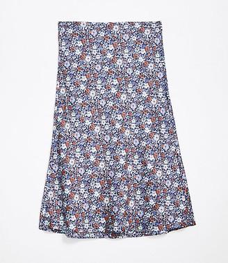 LOFT Petite Petaled Pull On Midi Skirt